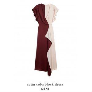 Katespqde satin colorblock dress